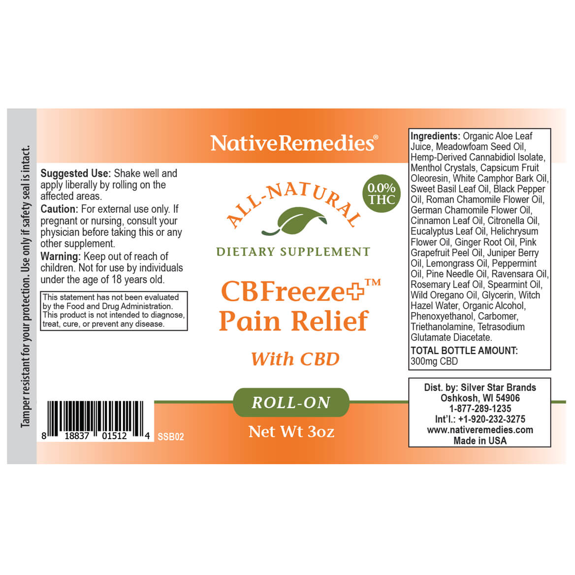 CBFreeze+ Pain Relief Roll-on - NativeRemedies®-369289