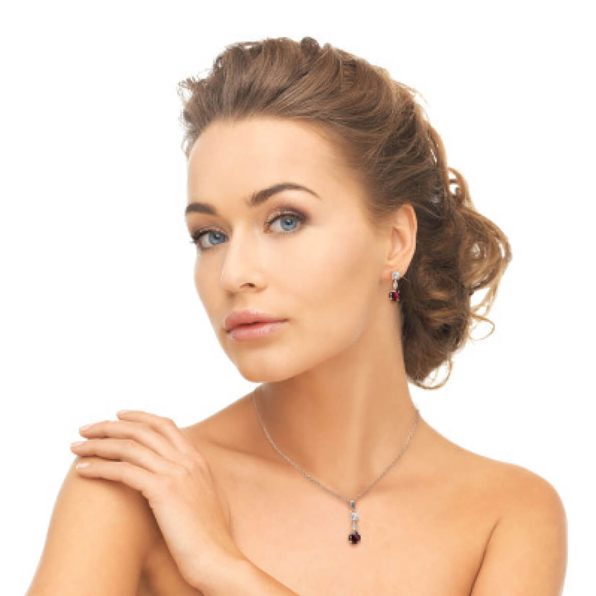Garnet & Crystal Jewelry Ensemble-369734