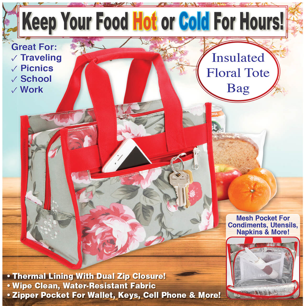 Insulated Floral Tote Bag-369769