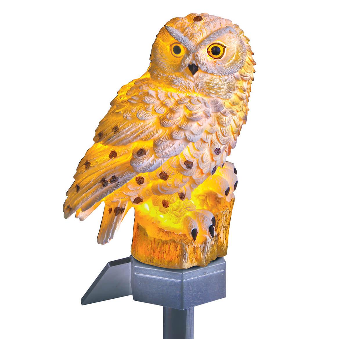 Solar White Owl Light-370086