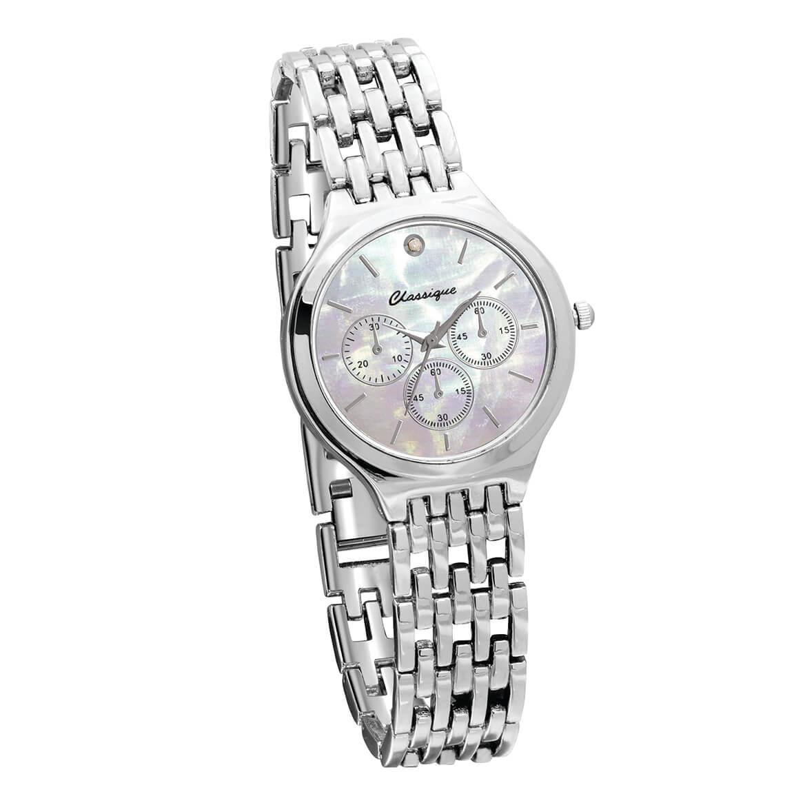 Classique Opalescent Diamond Watch Silver Tone-370199